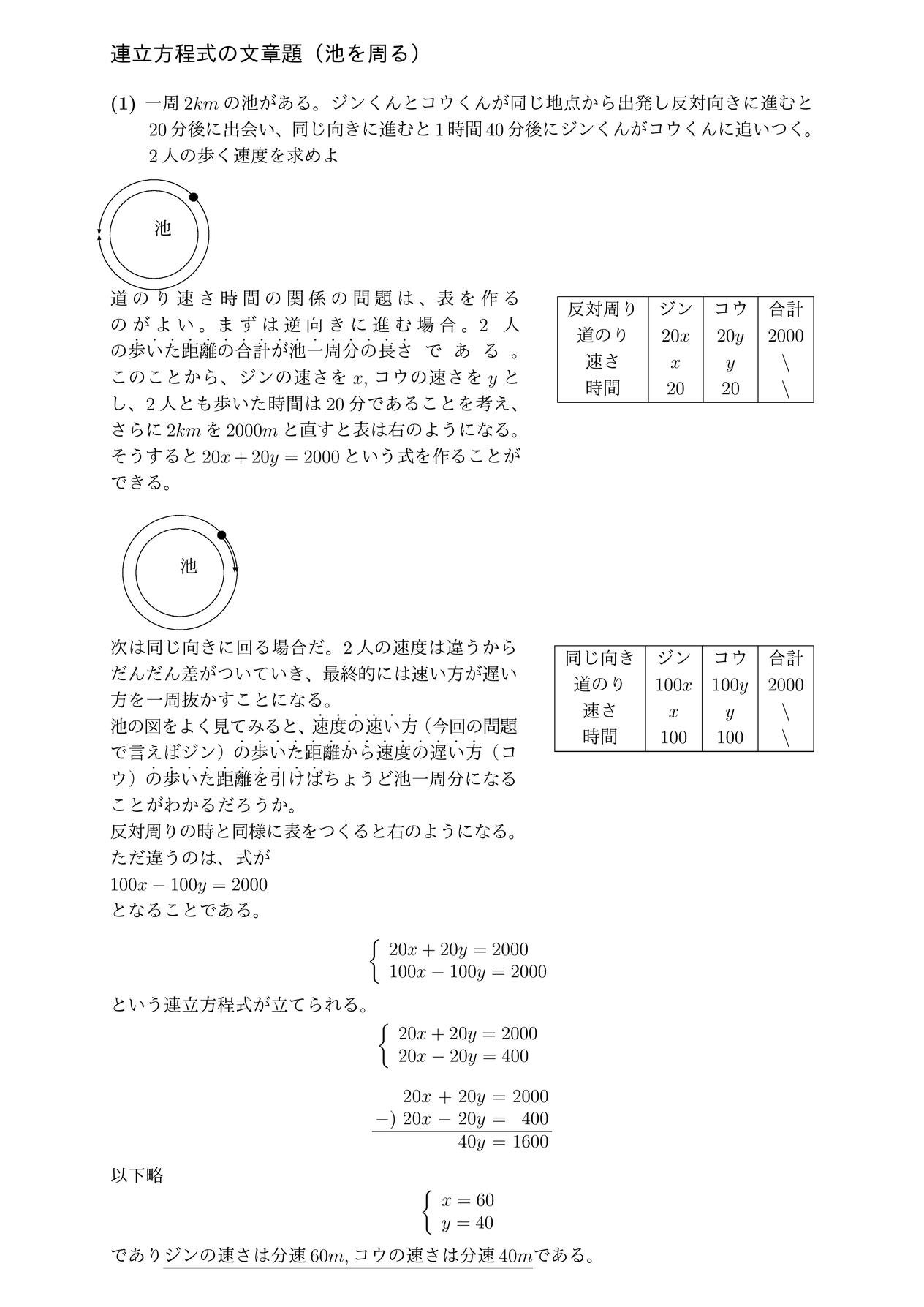 連立方程式の文章題(池を周る)